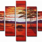 Red Sunset! Handpainted Landscape Oil Impressionist Art Canvas Painting (+Frame) LA5-010