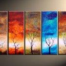 Tree in All Season !Handpainted Landscape Oil Impressionist Art Canvas Painting (+Frame) LA5-023