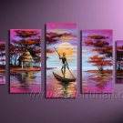 Black Man Row A Boat_Canvas Oil Painting Framed African Art (+ Frame) AR-003