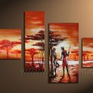 Top Sell Group Paintings_Canvas Oil Painting Framed African Art (+ Frame) AR-005