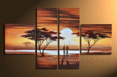 Two Africans Walk Toward The Sun_Canvas Oil Painting Framed African Art (+ Frame) AR-015