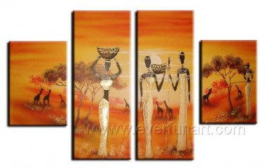 Black Woman Stay Together_Canvas Oil Painting Framed African Art (+ Frame) AR-023