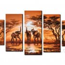 Attractive Elephants Painting_Canvas Oil Painting Framed African Art (+ Frame) AR-040