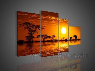 Dawn_Canvas Oil Painting Framed African Art (+ Frame) AR-046