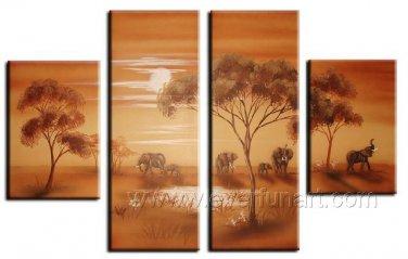 Classical Twilight African Landscape_Canvas Oil Painting Framed African Art (+ Frame) AR-047