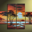 River And Bright Sun_Canvas Oil Painting Framed African Art (+ Frame) AR-053