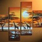 Great Sunrise Animals Landscape_ Canvas Oil Painting Framed African Art (+ Frame) AR-060