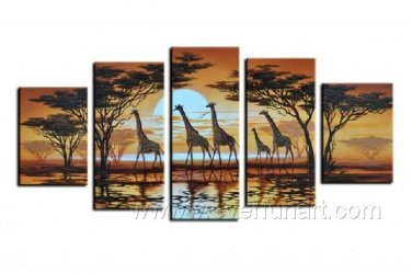 African Art Painting Of Giraffe_Canvas Oil Painting Framed African Art (+ Frame) AR-061