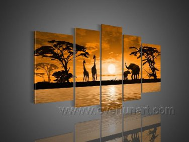 Golden Sun At The Ground_Canvas Oil Painting Framed African Art (+ Frame) AR-064