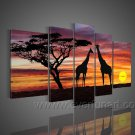 A View Of Animals And Sunset_Canvas Oil Painting Framed African Art (+ Frame) AR-070