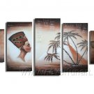 People And Tree_Canvas Oil Painting Framed African Art (+ Frame) AR-078