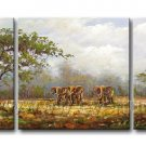 Elephants_Canvas Oil Painting Framed African Art (+ Frame) AR-087