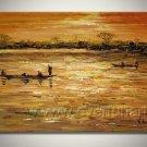 Boat Under Sunshine_Framed Oil on Canvas Seascape Painting SE-001
