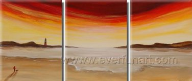Sunset Scenery At Beach ! Framed Oil on Canvas Seascape Painting SE-018