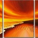 Beautiful Sunset At Beach! Framed Oil on Canvas Seascape Painting SE-019