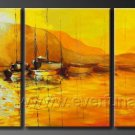 Yellow Tree Around the Lake_Framed Oil on Canvas Seascape Painting SE-025