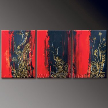 Golden Flower Abstract Oil Painting On Canvas Wall Pictures Framed  XD3-230