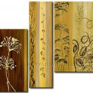 Modern Abstract Golden Flower On Canvas Wall Art Framed XD3-269