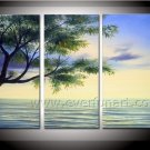 Growing Tree in Spring Landscape Oil Painting On Canvas Wall Art Fremed  LA3-125