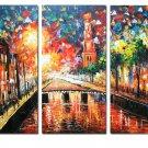 Prosperous Street Landscape Oil Painting On Canvas Wall Art Fremed LA3-131