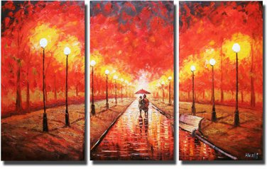Walking At The Rainy Street Landscape Oil Painting On Canvas Wall Art Fremed LA3-134