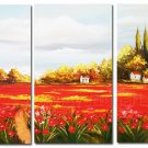 Beautiful Country House And Flowers Landscape Oil Painting On Canvas Wall Art Fremed LA3-135