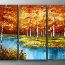 Small Stream in Forest Landscape Oil Painting On Canvas Wall Art Fremed LA3-136
