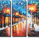 Stepping On The Raining Street Landscape Oil Painting On Canvas Wall Decor Fine Art  LA3-141