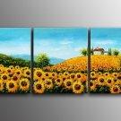 Beautiful Sun Flower Field Landscape Oil Painting On Canvas Wall Decor LA3-176