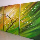 Green Tree And While Small Flowers Landscape Oil Painting Hot Sell LA3-188