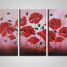 Impressive Red Flowers Beautiful Oil Paingting Canvas Art Home Decor Framed FL3-142