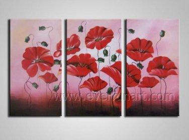Impressive Red Flowers Beautiful Oil Paingting Canvas Art Home Decor Framed FL3-142