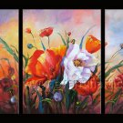 abstract red flowers large oil painting canvas modern floral art FL3-168