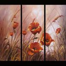 Red Poppies In Garden Floral Art Flowers Oil On Canvas Art Painting FL3-173
