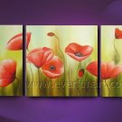 red orange poppies field flowers large oil painting canvas poppy floral art FL3-191
