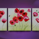 Framed red poppies field flower oil painting canvas modern floral contemporary FL3-193