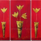 Framed Abstract Golden Flower Oil Painting On Canvas  FL3-196
