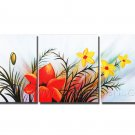 Abstract flower - three panels painting Group Paintings STRETCHED oil on canvas FL3-211