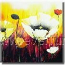 Poppy Flower Red & Yellow Pink Floral Framed Oil PaintingFL3-216