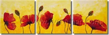 Modern Art Abstract Large Oil On Canvas Painting Red Poppies Buds Garden Field FL3-217