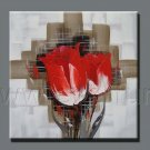 Oil Painting On Framed Canvas Poppy FlowersFL3-219