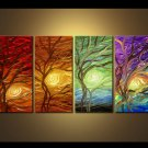 Hand-Painted Modern Abstract Landscape&tree Oil Painting On Canvas for Wall Decoration  LA4-048