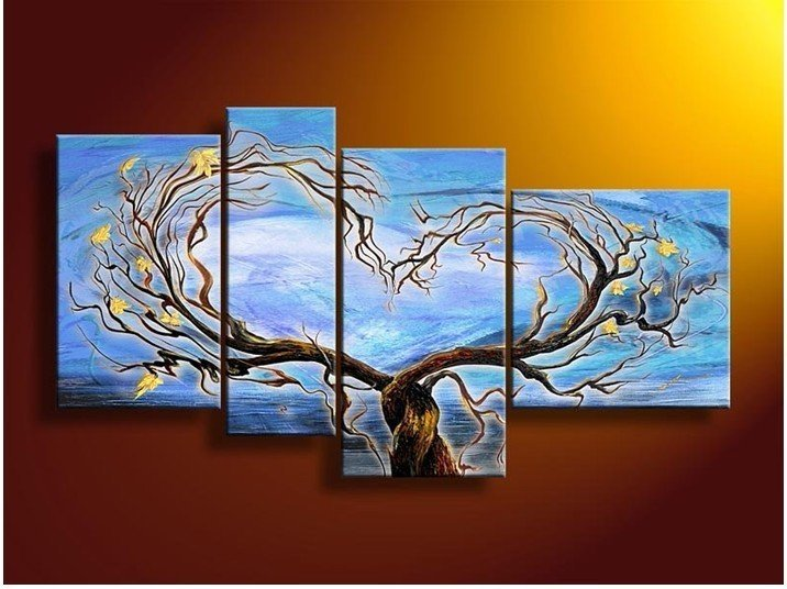 Popular Large Modern Landscape&tree Oil Painting On Canvas for Wall Decoration LA4-055