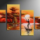 Wooden Framed Modern Handpainted Decorative Huge African Oil Painting on Canvas .AR-001