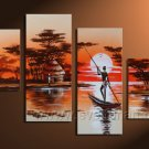 Wooden Framed Modern Handpainted Decorative Huge African Oil Painting on Canvas .(AR-002)