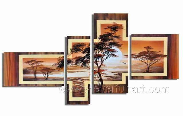 Handpainted African Modern landscape Pine Tree Oil Painting on canvas (+Framed) AR-010