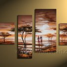Wooden Framed 4 Panels Handpainted Huge Wall Art Sunset Lover Tree Oil Painting on Canvas (AR-016)