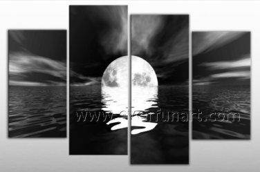 White & Black Seascape Oil Painting for Decor (+ Framed) SE-193