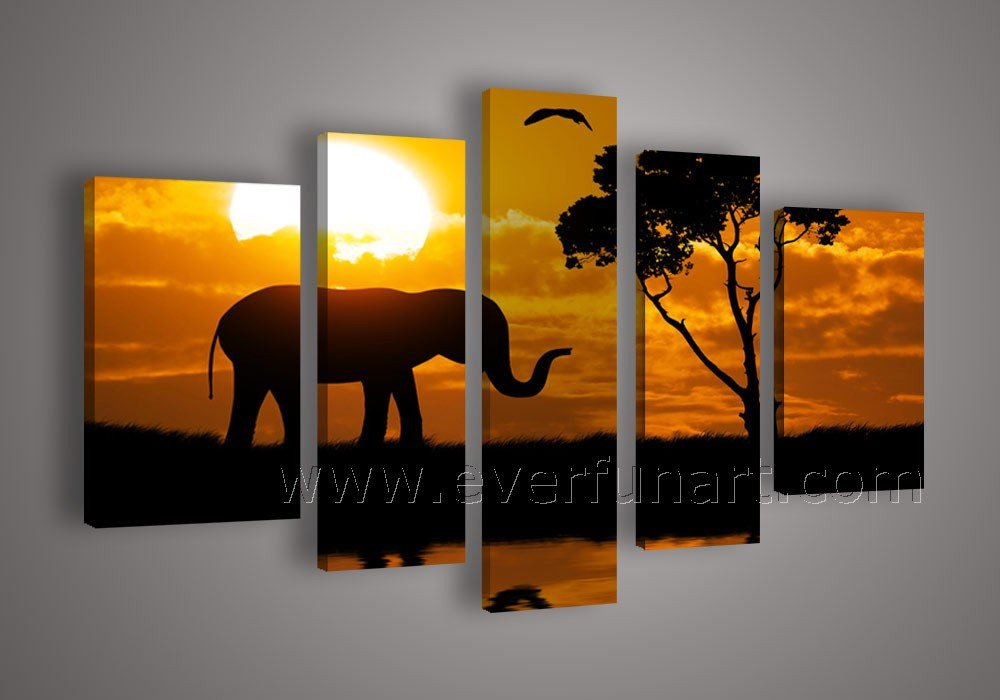 Beautiful African Scenery on Oil Painting (+ Framed) AR-099