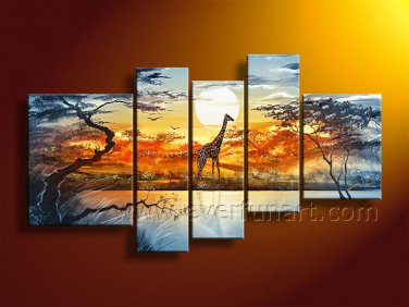 Large Wall Decor African Wildlife Oil Painting on Canvas (+Framed) AR-136